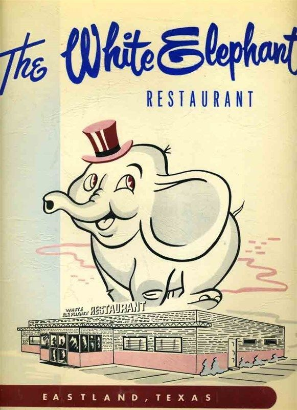 The White Elephant Restaurant Menu Eastland Texas 1959