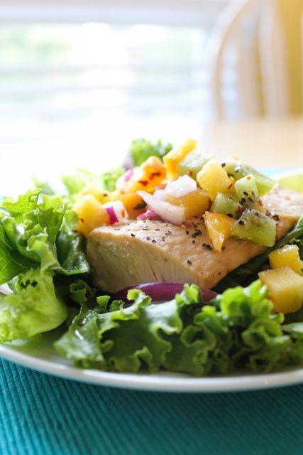 Mahi Mahi with Tropical Salsa #eatclean #healthy #recipe