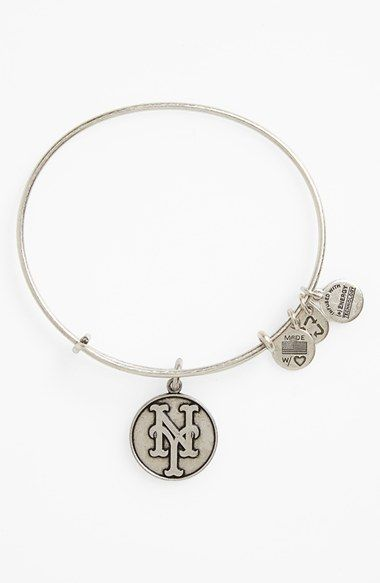 Women's Alex and Ani 'New York Mets' Expandable Charm Bangle - Silver