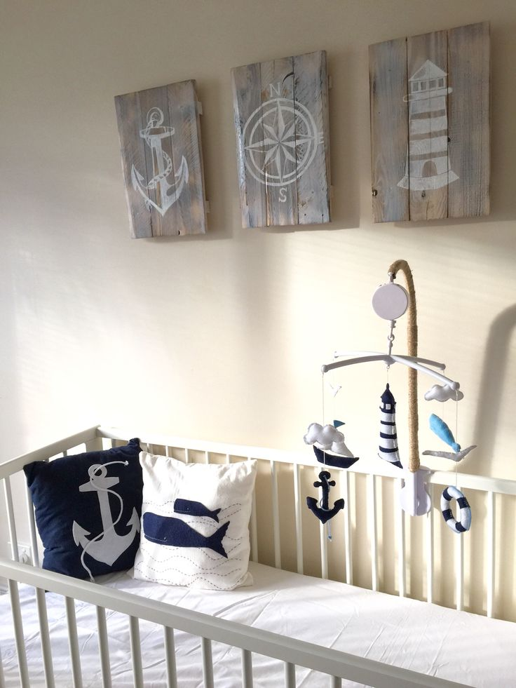 Sam's nautical nursery #white and #navy_blue #theme #nautical_mobile…