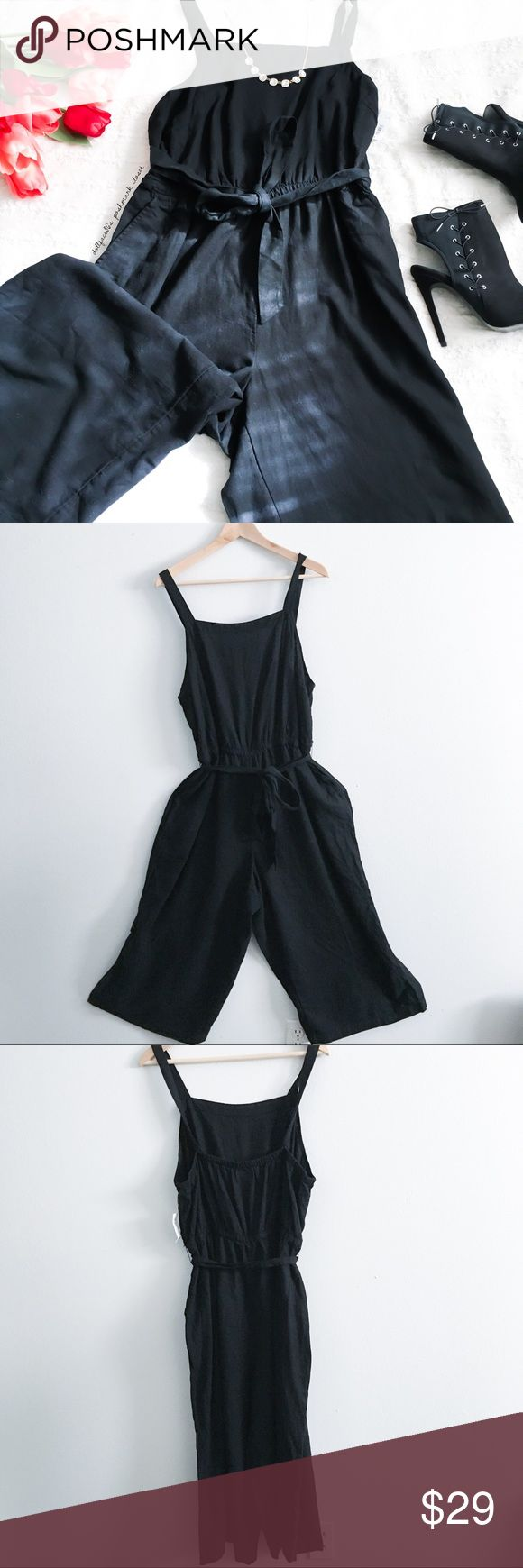 """NWT Black Pinafore Cropped Jumpsuit ✦   ✦{I am not a professional photographer, actual color of item may vary ➾slightly from pics}  ❥chest:20"""" ❥waist:17"""" w/stretch ❥length:44.5""""chest-hemline ❥inseam:20.5"""" ➳55%linen+Rayon/machine wash ➳fit:looks true, but no stretch except for waist band, plz use measurements ➳condition:new w/tag part of tag w/price bent off (sorry)  ✦20% off bundles of 3/more items ✦No Trades  ✦NO HOLDS ✦No lowball offers/sales are final  ✦‼️BE A RESPONSIBLE BUYER PLS ASK…"""
