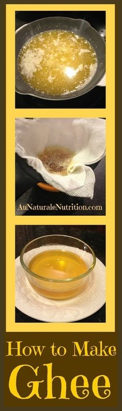 Ghee, what the heck is it?  An easy recipe to make it at home.  Plus: How to use it.  Why it's better for those who are dairy-sensitive or intolerant, and what to do if it turns out grainy.  By www.aunaturalenutrition.com