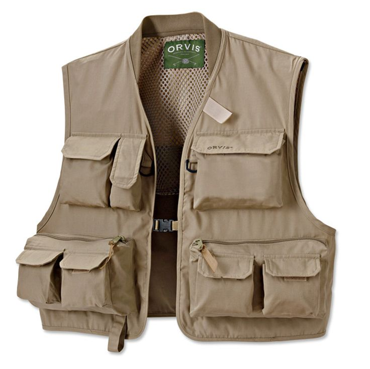 Fabric is rugged 55% cotton/45% poly poplin—same as our Tac-L-Paks. This fly fishing vest has twelve pockets, including ample cargo pocket in the rear for extra gear, rain jacket, or lunch. Convenient