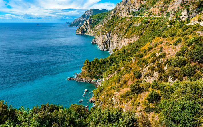 Download wallpapers Amalfi, 4k, coast, sea, summer, mountains, Italy, Europe