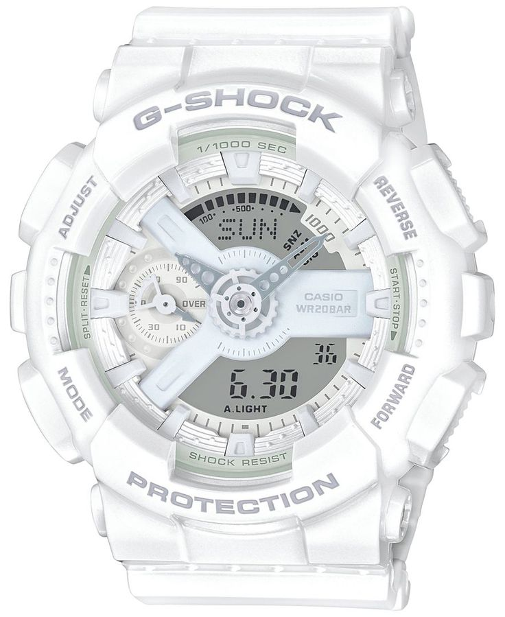 Multifunctional and fab, this great white watch from G-Shock does a whole lot more than just tell time, with 4 daily alarms, a timer, countdown feature and so much more! | White resin bracelet | Round