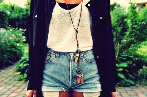 cute: Hipster, Lace Tops, Summer Day, Jeans Outfits, Style, Cute Outfits, Denim Shorts, Jeans Shorts, High Waist Shorts