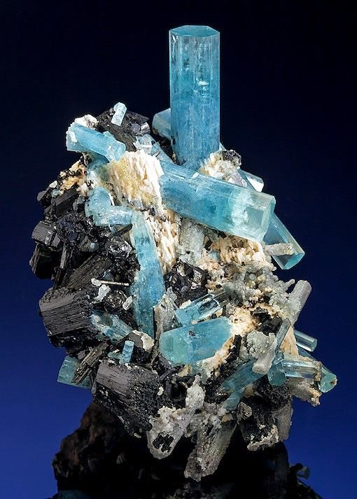 Aquamarine with Schorl Tourmaline on white Feldspar --- Erongo Region, Namibia.