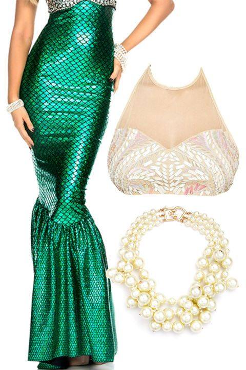 MERMAID: Channel your sea goddess vibes with this sexy and fun costume! Just grab a mermaid skirt, a crop top, and some ~ocean~ inspired jewelry to put this look together!