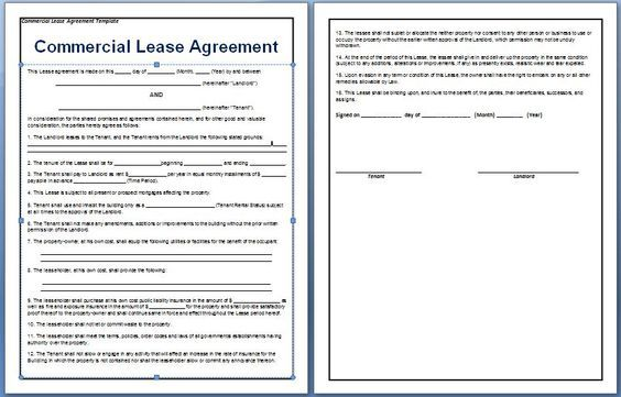 A contract between a tenant and a landlord for the rental of - commercial lease agreement in word