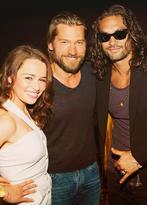 Emilia Clarke, Nikolaj Coster-Waldau and Jason Momoa. This might be my favorite picture ever.