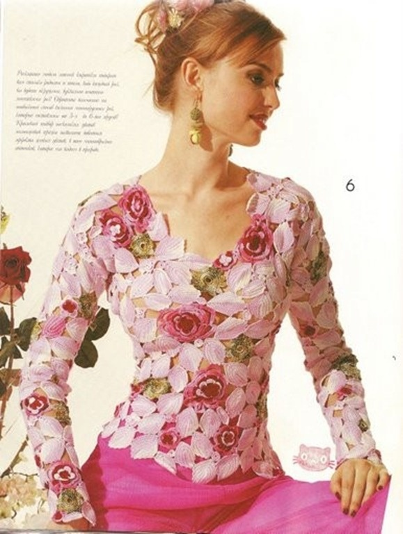 Lindo modelo de blusas de crochê [molde]