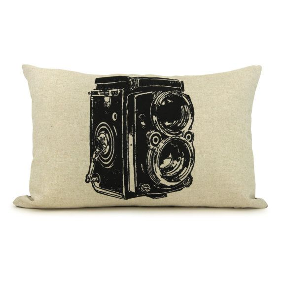 Antique camera photo pillow cover lumbar 12x18 or 16x16 for Decorative blankets modern home decor