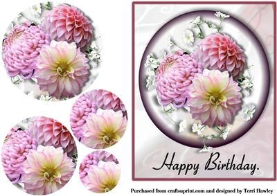 This beautiful card is very easy to make, and has photo of lovely Dahlia's. Nice for anyone to get on there birthday.  This card also has a insert to match.