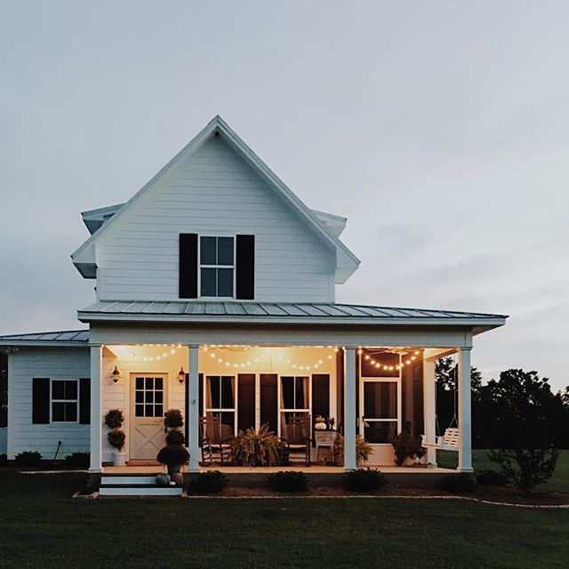 Took a cue from my sweet friend Laura, @meadowfarmhouse and hung a few strands of globe lights around the porches. I adored hers and thought it looked so warm and inviting at night. The boys asked if it were Christmas since I was hanging Christmas lights.