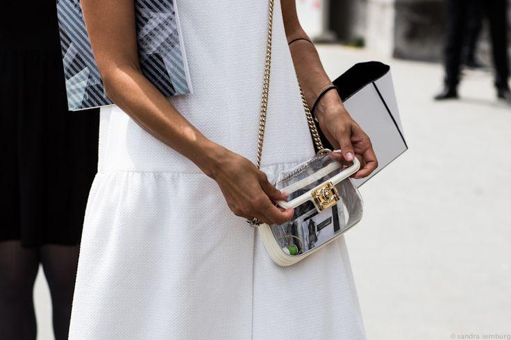 detail – transparent Chanel bag