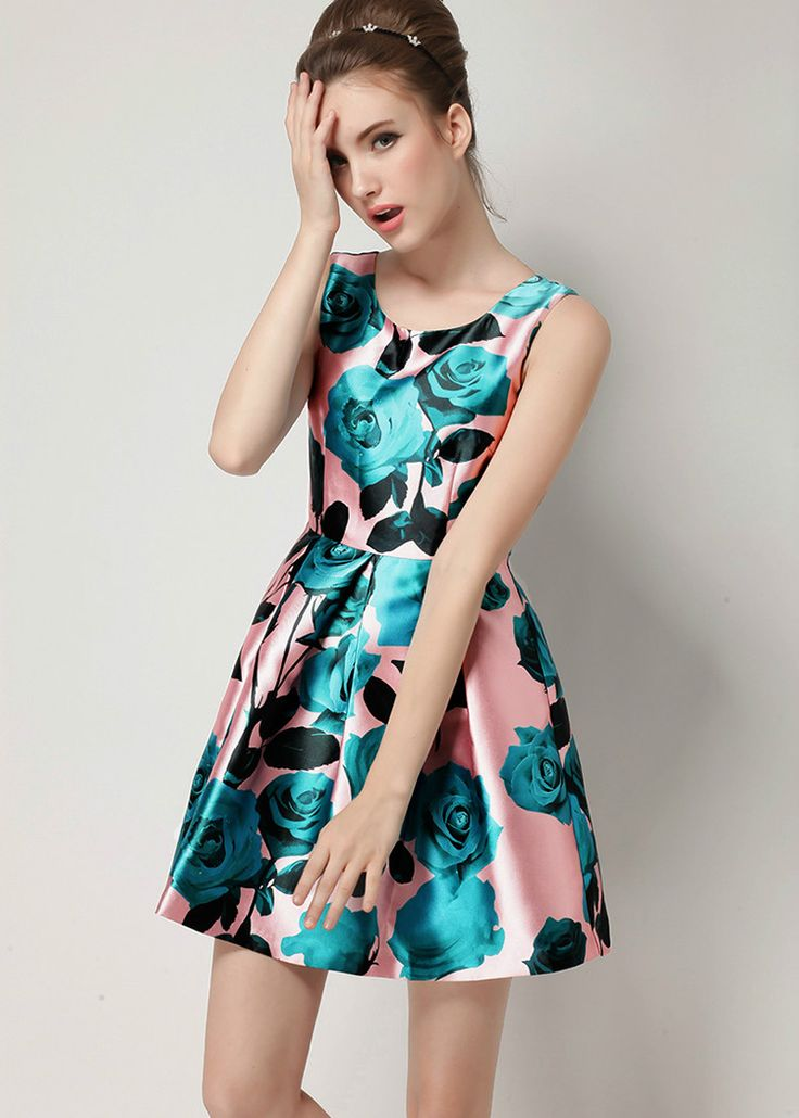 shop for Beautiful Refreshing Rose Print High Waist Fit-and-Flare Dress and more for everyday cheap prices at Lalalilo.com - Your Online Womens Clothes Store