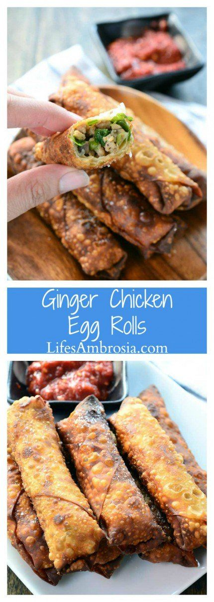 Crispy Ginger Chicken Egg Rolls are loaded with ground chicken, fresh ginger, mushrooms, green onions and cilantro. A classic Asian appetizer!