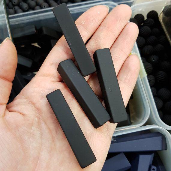 5 x 50mm Long Black Neoprene Rubber Beads 2194