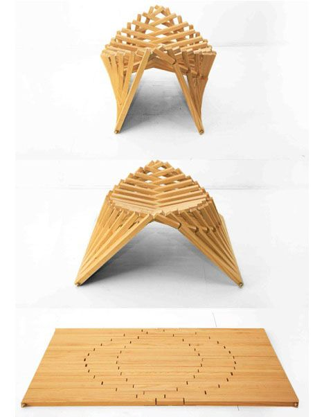 """It's tough not to be impressed with Netherlands-based designer Robert van Embricqs' """"Rising"""" series of furniture, comprised of a stool, chair and table:"""