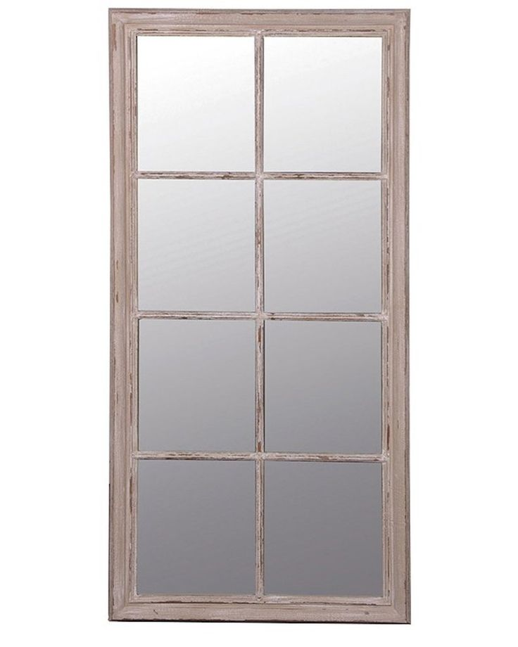 Window Pane Mirror, Taupe Wood Frame H:154cm | Free Delivery