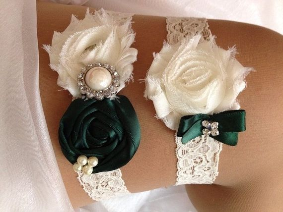 Hunter Green Wedding Garter Set  Hunter Green and by HopesBridal, $23.95