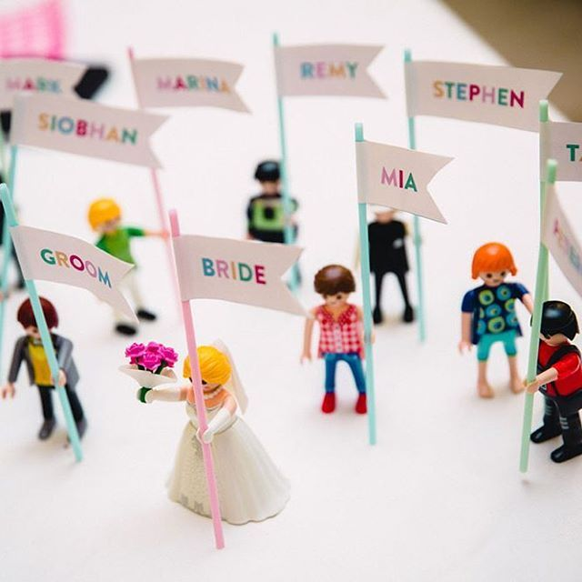 Playmobile figures as place names! via @rocknrollbride photo @emilieeychenne