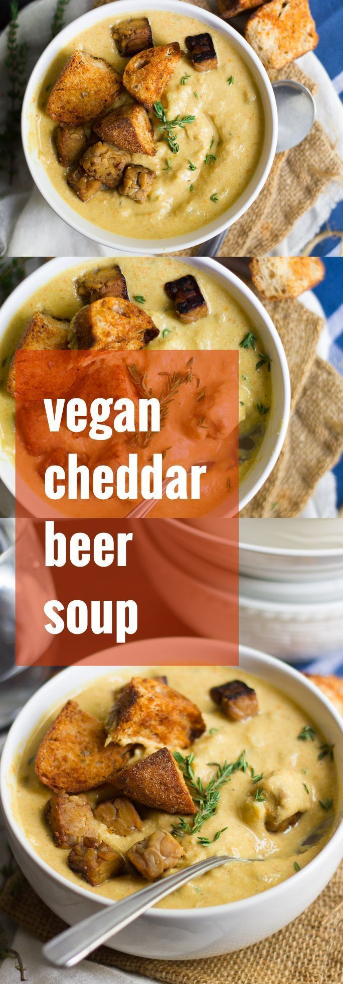 This rich and creamy vegan cheddar beer soup is made with a base of savory veggies and creamy raw cashews, simmered up with ale and topped off with smoky croutons and tempeh bacon!