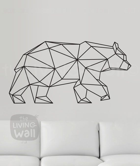 Perfect Geometric Bear Wall Decal Geometric Animals Decor Bear Wall Art Removable Sticker Australian Made Lee Pinterest Geometric bear Animal decor and Wall