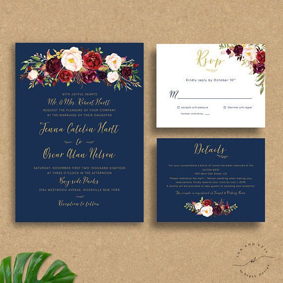 Navy Gold Burgundy Wedding Invitations Suite Bohemian Floral