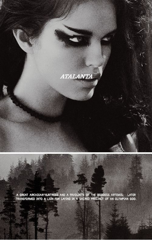 """Atlanta: """"And after the goal of the stormy marriage-race,  after the Paphian's apples, Artemis shall change  Atalanta into a lioness and drive her mad."""" #myth"""