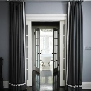 House and Home - bedrooms - passage, charcoal gray drapes, gray drapes, white banding, steel blue paint, steel blue walls, French doors, clawfoot tub, gray curtains, gray drapes, grosgrain curtains, grosgrain drapes, gray grosgrain curtains, gray grosgrain drapes, corridor,