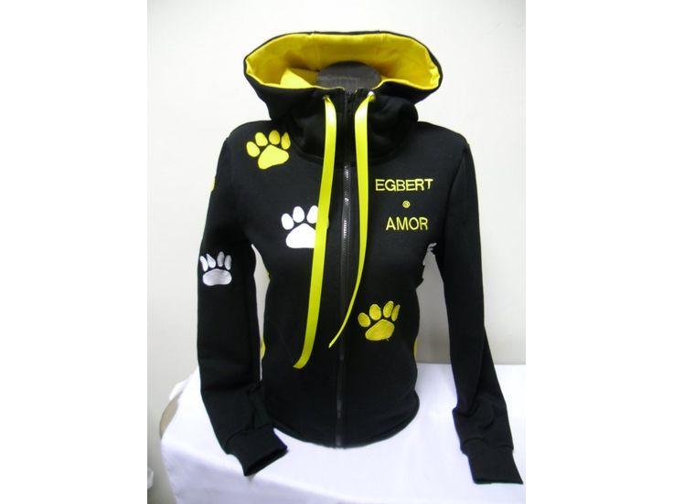 Dámská černá mikina se žlutými tlapkami + výšivka na přání. - ADAL styl