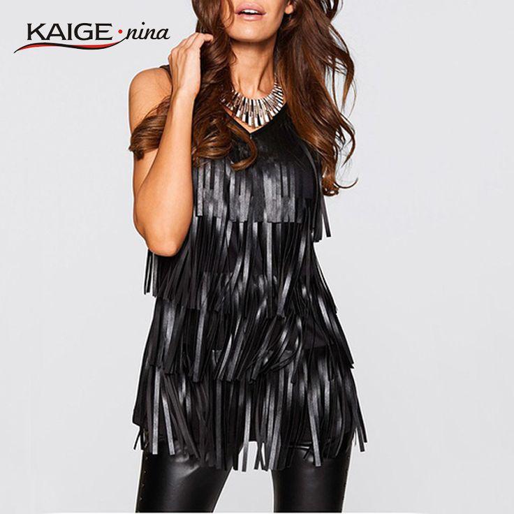 Kaige。ニーナ女性固体タンクプラスサイズファッション女性ノースリーブセクシーな黒puレザータッセルブラウスvネック2270a