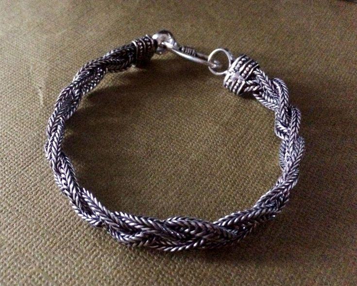 twisted braid silver rope chain braceletmen silver chain