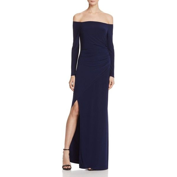 Laundry by Shelli Segal Off-the-Shoulder Gown (4,575 MXN) ❤ liked on Polyvore featuring dresses, gowns, inkblot, blue dress, slit dress, off the shoulder evening gown, off shoulder evening dress and blue evening dresses