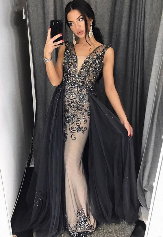 A Line V Neck Floor Length Black Tulle Prom Dress With Beadingcheap