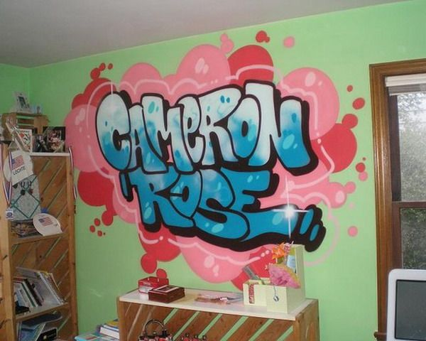 Little Girls Bedroom with Name Graffiti Murals Ideas ...