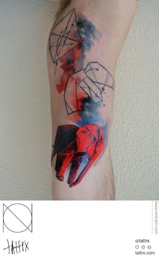 Ondrash - Origa... Origami Elephant Tattoo