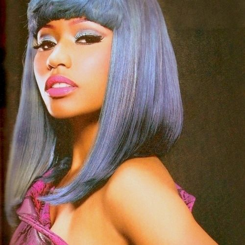 Nicki Minaj Long Grey Bob Hairstyle Top Celebrity