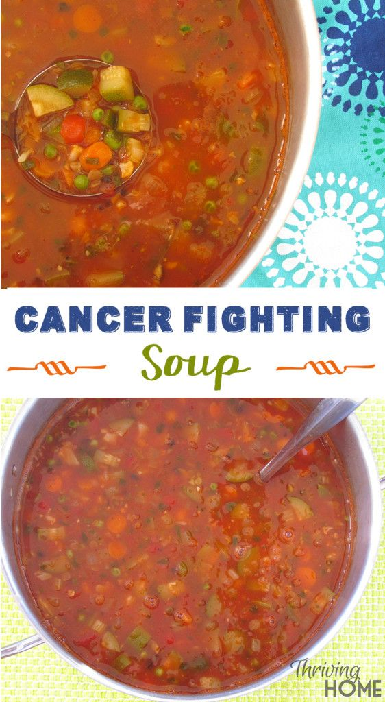 Cancer Fighting Soup Yields: 12-16 servings (this soup feeds an army!) Ingredients 1-2 tablespoons olive oil 1 onion, diced 2-3 celery stalks, sliced 2 cups carrots, diced 3 garlic cloves salt and pepper, to preference 1/4-1/2 teaspoon red pepper flakes 1 teaspoon Italian seasoning (or other dried herbs like basil, oregano, and parsley) 12 cups (or 3 32-ounce cartons) of chicken or vegetable broth 1 28-ounce can of crushed tomatoes (look for BPA-free cans) 2 tablespoons tomato paste 2 bay…