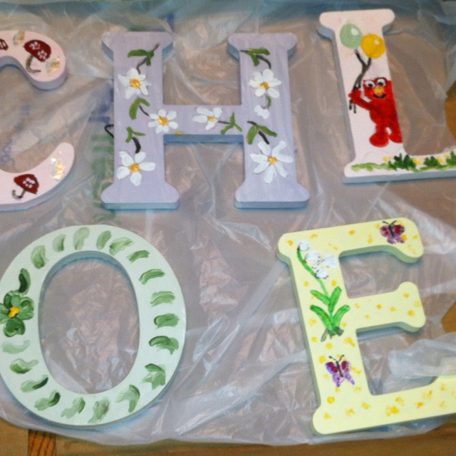 Chloe's letter blocks hand painted by G-Nanny.: Chloe S Room, Letter Blocks, Chloe S Letter