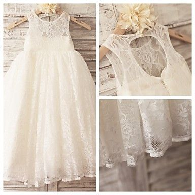 Size 2-14 Princess Ivory Hole Back Floor-length Flower Girl Dress - Lace Sleeveless – USD $ 60.99