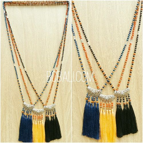 three color silver caps beads rudraksha crystal tassels - three color silver caps beads rudraksha crystal necklaces tassels