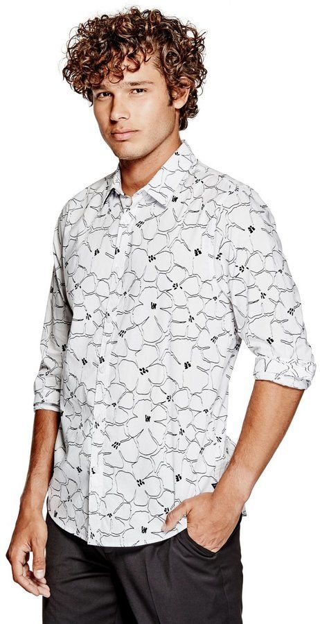 GUESS Men's Floral Slim-Fit Shirt