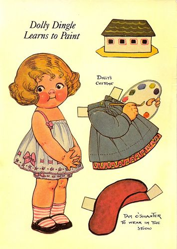 Dolly Dingle Learns to Paint...by Grace G. Drayton postcard - paper doll - 2 | Flickr - Photo Sharing!