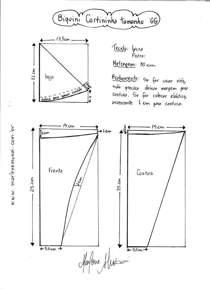Esquema de modelagem de Biquini Cortininha tamanho GG.