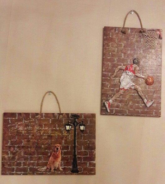 Mdf  tuğla görünümünde boyanmış olup üzeri hamur kabartma figurlerle işlenmiştir # ahşapboyama #duvar #basketbolcu #sokaklambası #duvar yazısı