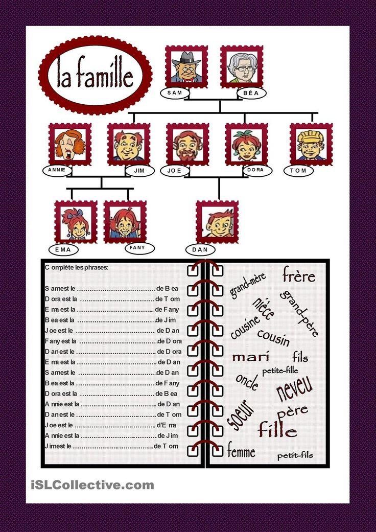 La famille | GRATUIT FLE fiches pédagogiques