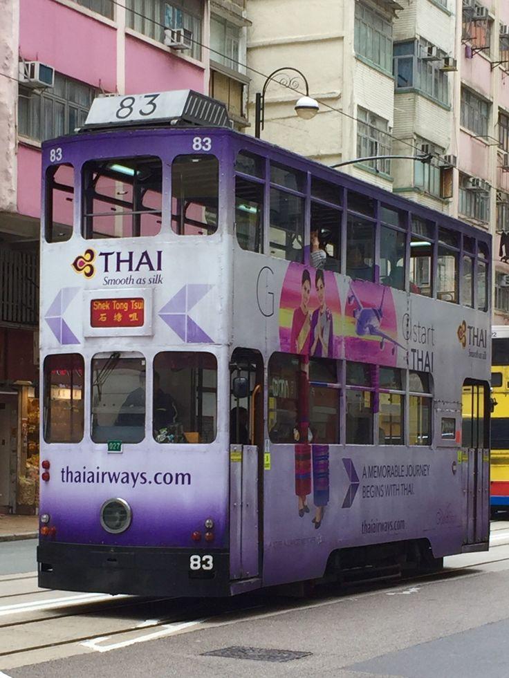 Bill ✔️ Ding Ding! A Hong Kong Tram on De Voeux Road, Western Market, Sheung Wan, Hong Kong Island, Hong Kong 🇭🇰, China. The trams have been running all over the flat parts of Hong Kong Island, Hong Kong 🇭🇰, China since 1904! Bill Gibson-Patmore. (iPhone image, curation & caption: @BillGP). Bill😄 🇳🇿✔️.