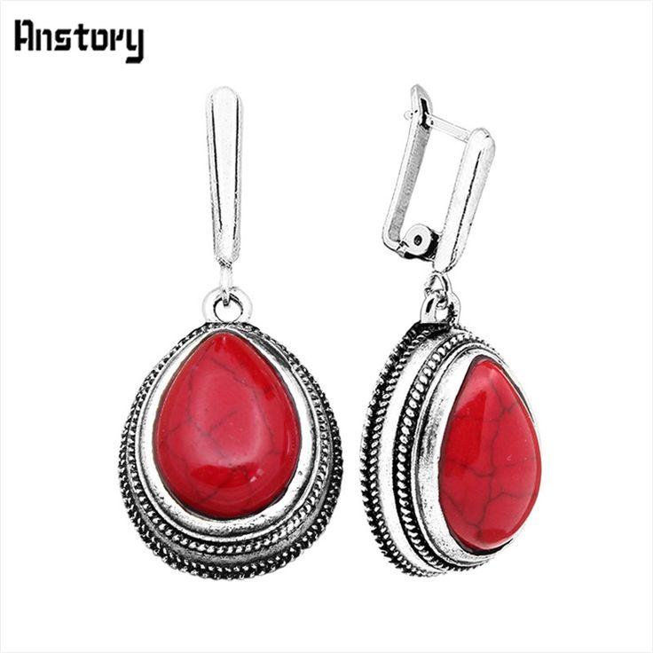 Retro Rzemiosło Vintage Look Antique Silver Plated Delikatne Red Turquoise Dynda Clip On Kolczyki Drop TE109